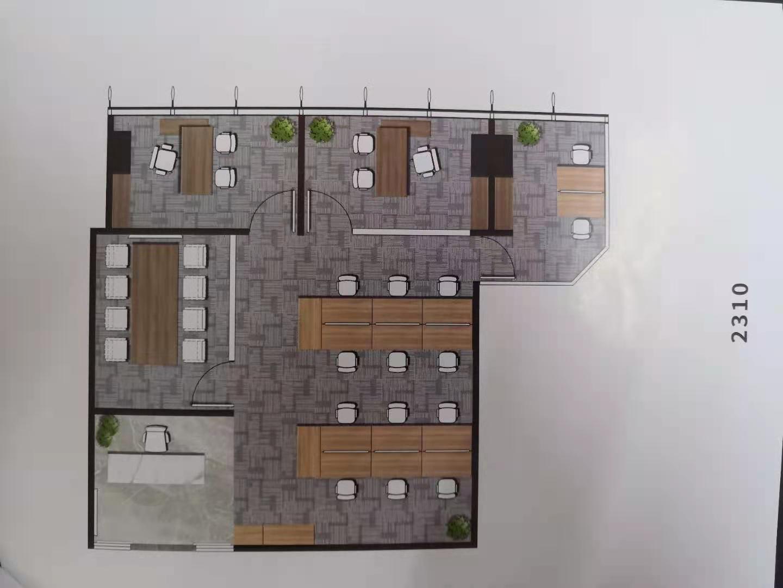 东方金融广场B座出租202平办公室精装修带家具